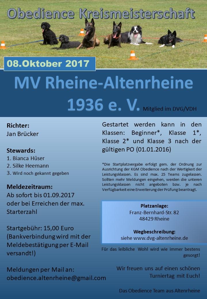 Obedience Kreismeisterschaft 2017 @ MV Rheine-Altenreine | Rheine | Nordrhein-Westfalen | Deutschland