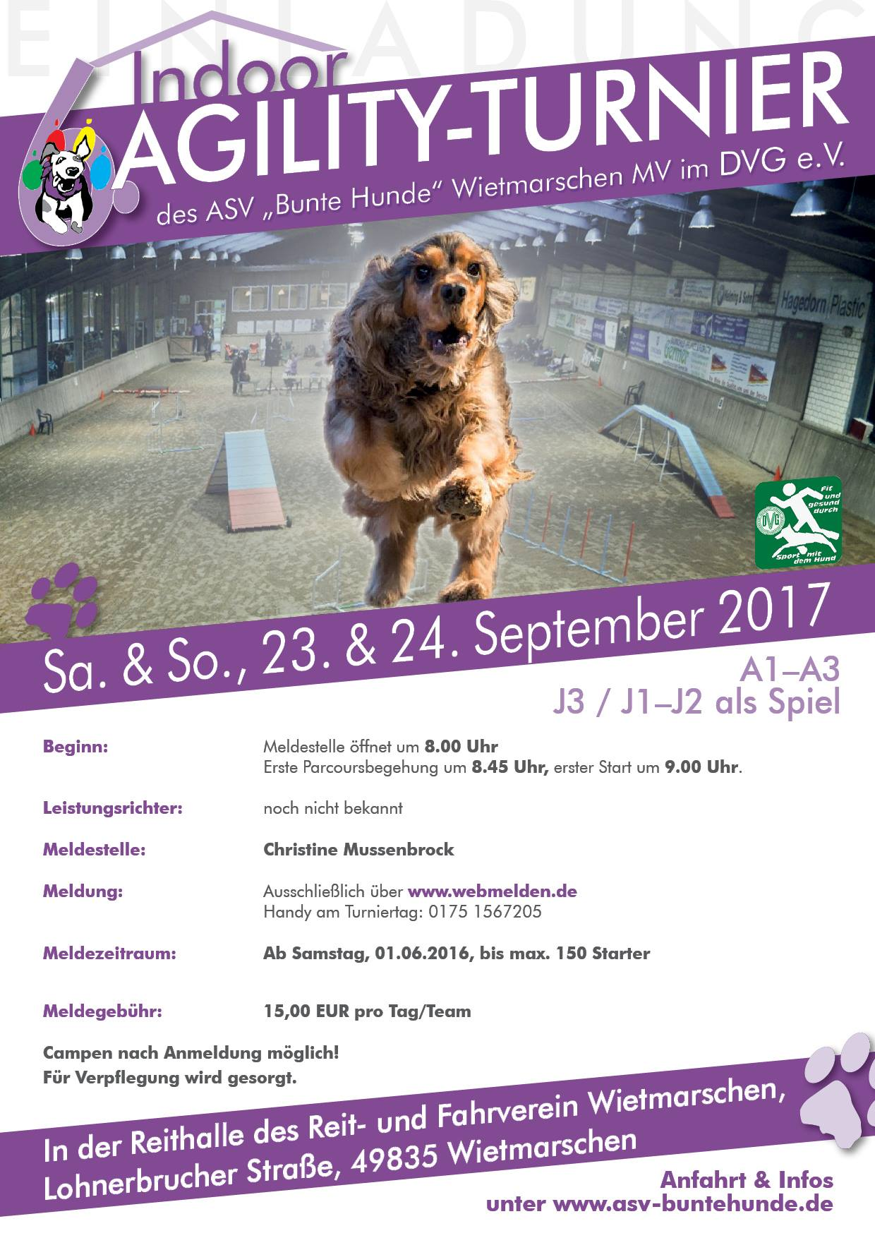 "Indoor Agi-Turnier  ASV ""Bunte Hunde"" Wietmarschen e.V. @  ASV ""Bunte Hunde"" Wietmarschen e.V. | Wietmarschen | Niedersachsen | Deutschland"