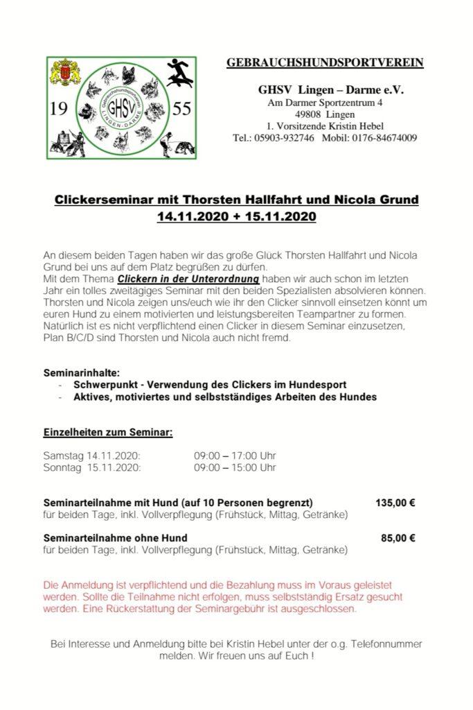 Clickern in der Unterordnung @ GHSV Lingen-Darme e.V.