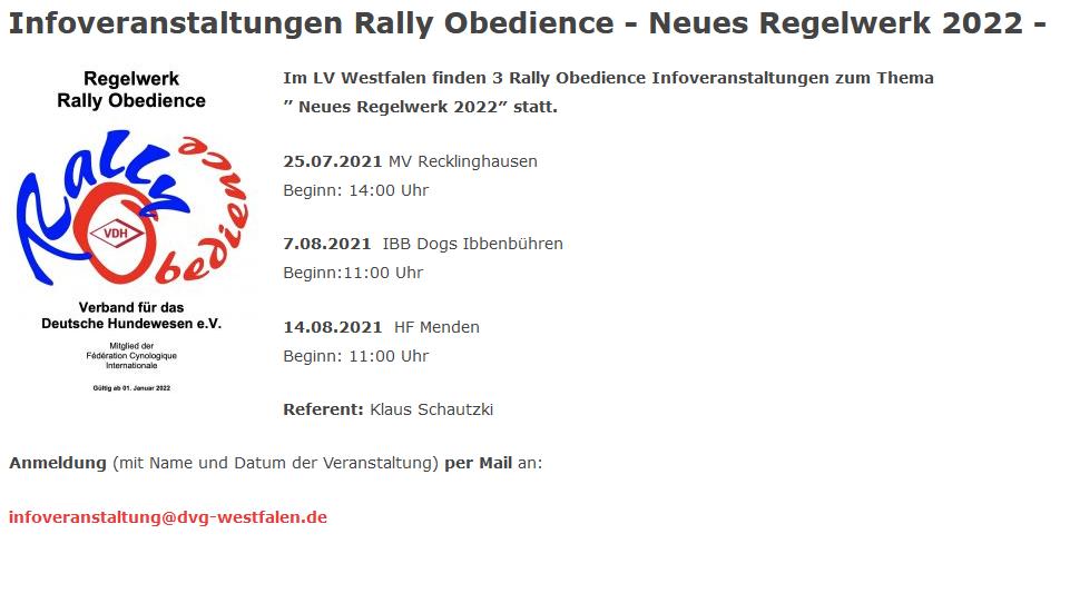 """Infoveranstaltungen RO """" Neues Regelwerk 2022 """""""