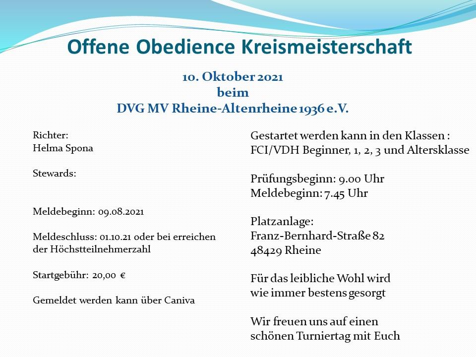 Offene Obedience Kreismeisterschaft 2021